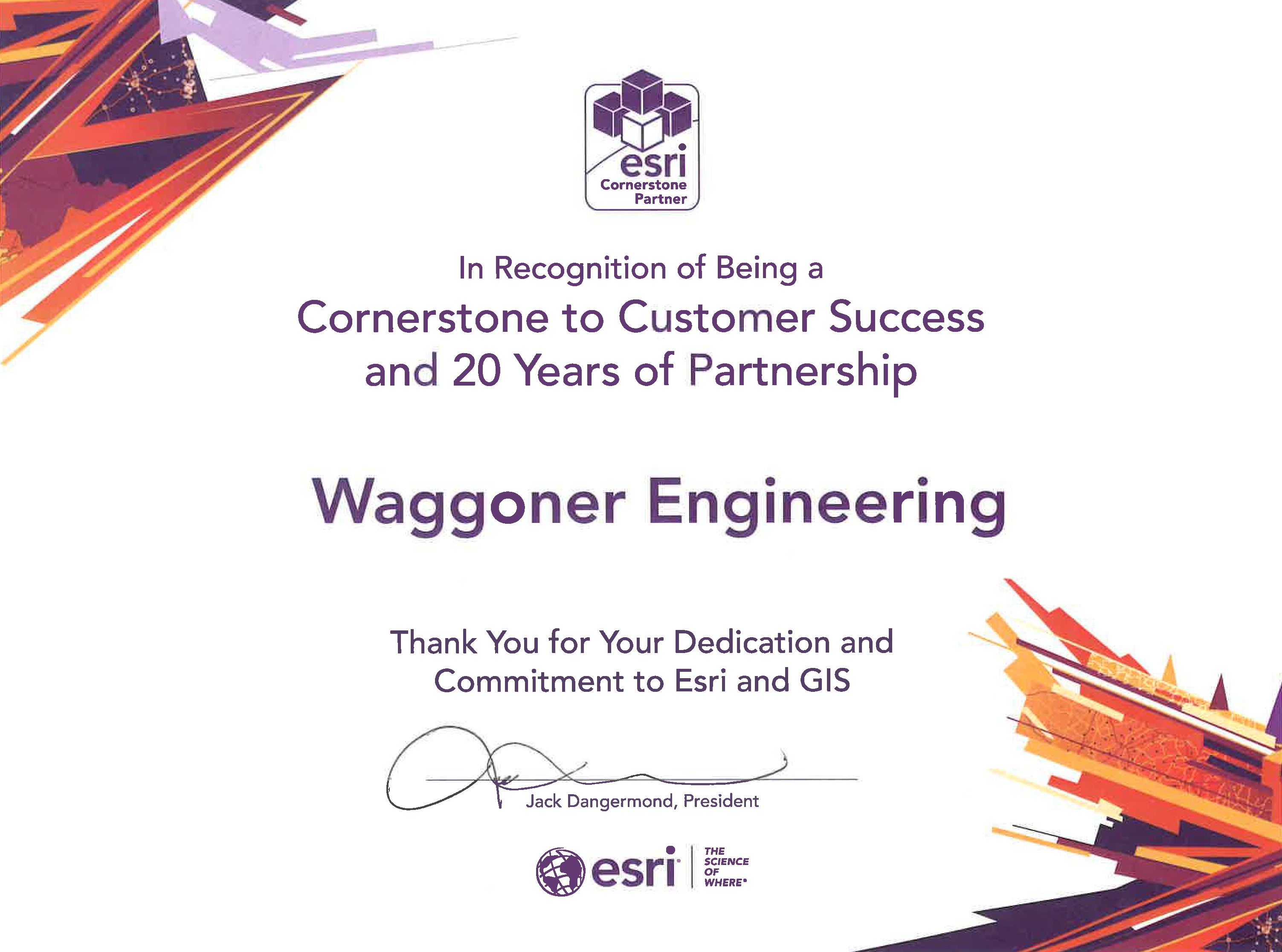 Waggoner Recognized for Longtime ESRI Partnership